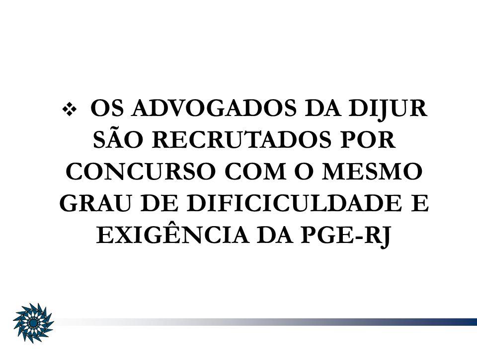 OS ADVOGADOS DA DIJUR SÃO RECRUTADOS POR CONCURSO COM O MESMO GRAU DE DIFICICULDADE E EXIGÊNCIA DA PGE-RJ