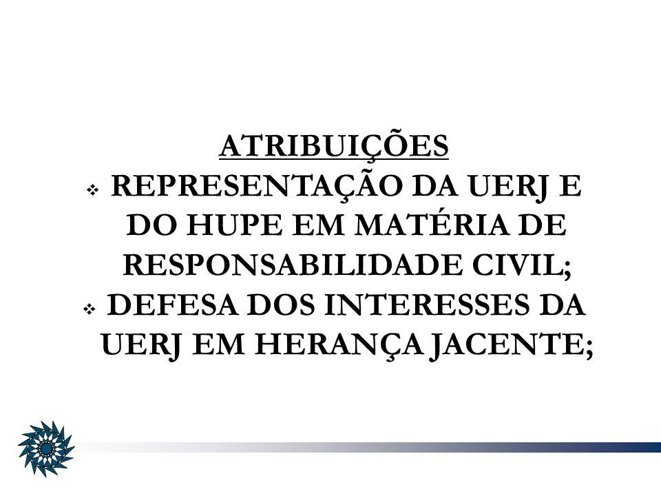 REPRESENTAÇÃO DA UERJ E DO HUPE EM MATÉRIA DE RESPONSABILIDADE CIVIL;