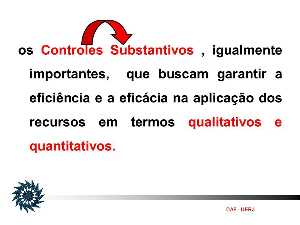 os Controles Substantivos , igualmente importantes, que buscam garantir a eficiência e a eficácia na aplicação dos recursos em termos qualitativos e quantitativos.
