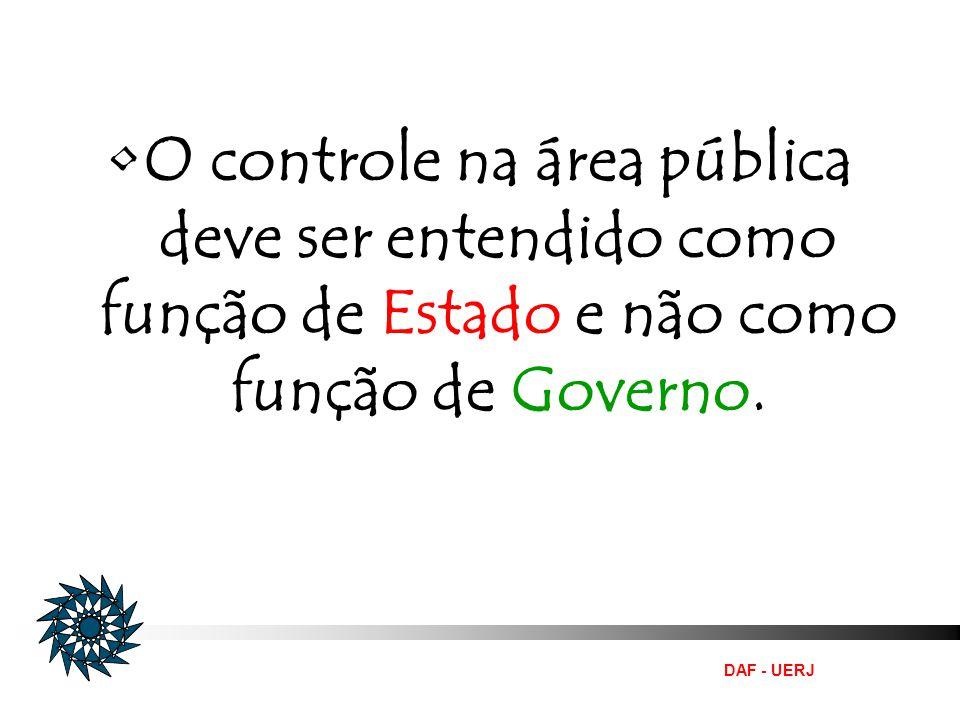 O controle na área pública deve ser entendido como função de Estado e não como função de Governo.