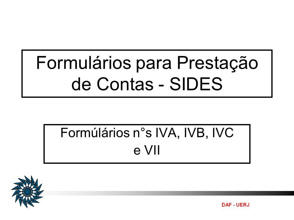Formulários para Prestação de Contas - SIDES
