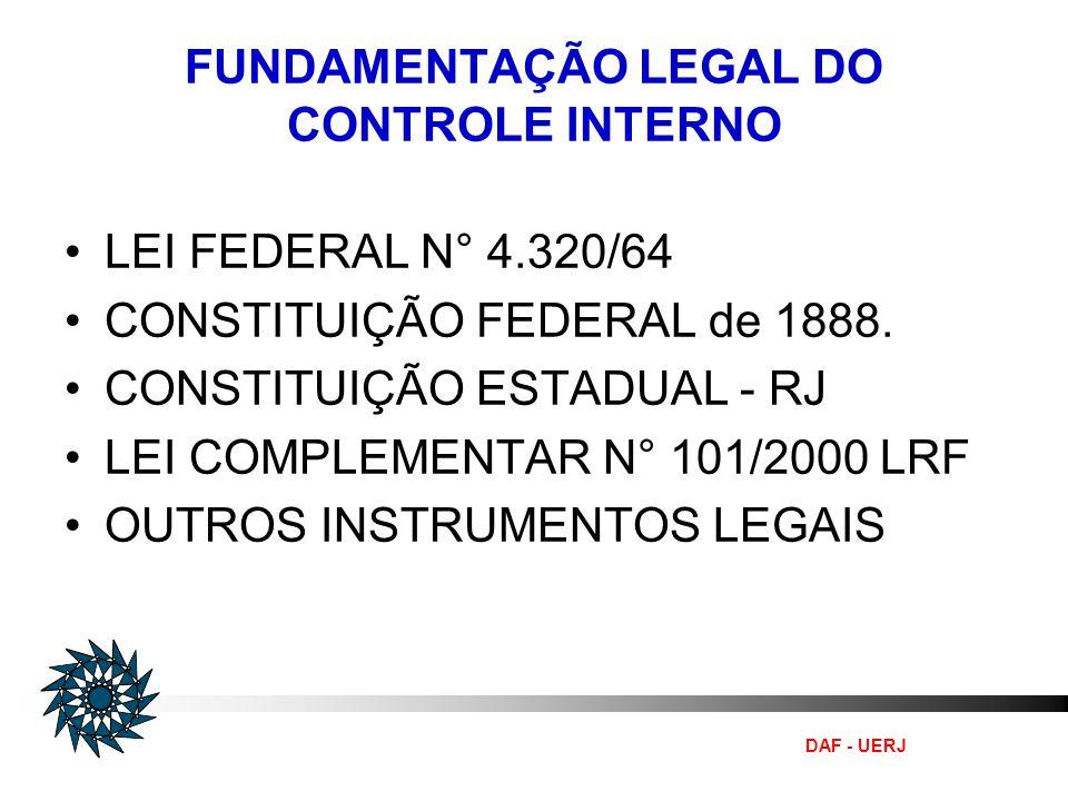 FUNDAMENTAÇÃO LEGAL DO CONTROLE INTERNO