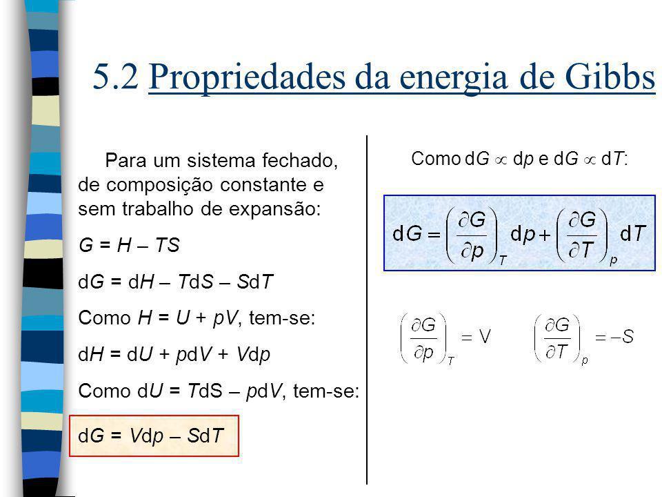 5.2 Propriedades da energia de Gibbs