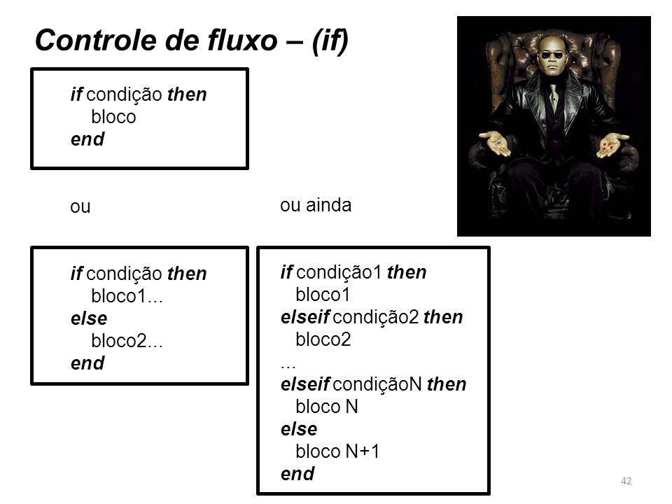 Controle de fluxo – (if)