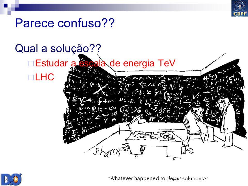 Parece confuso Qual a solução Estudar a escala de energia TeV LHC