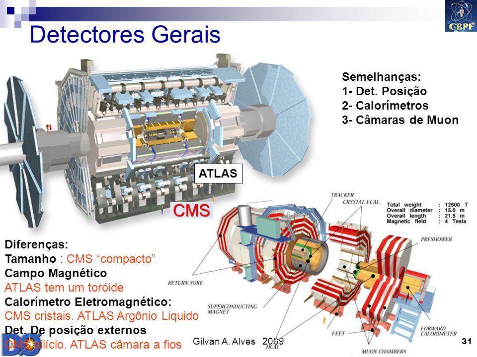 Detectores Gerais Semelhanças: 1- Det. Posição 2- Calorímetros