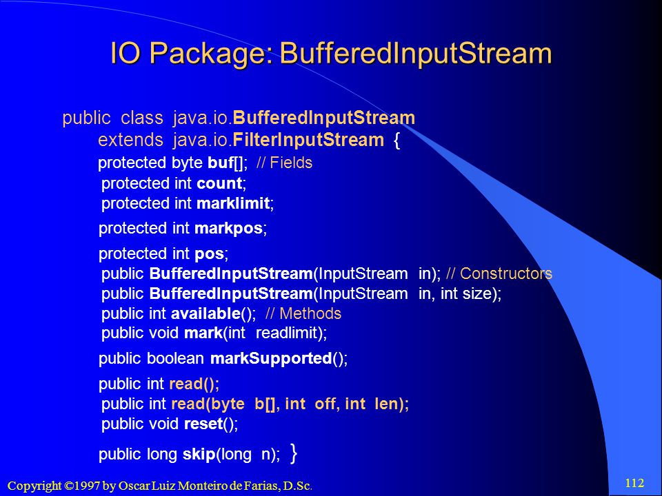 IO Package: BufferedInputStream