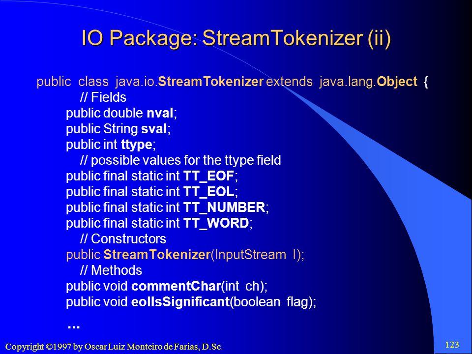 IO Package: StreamTokenizer (ii)