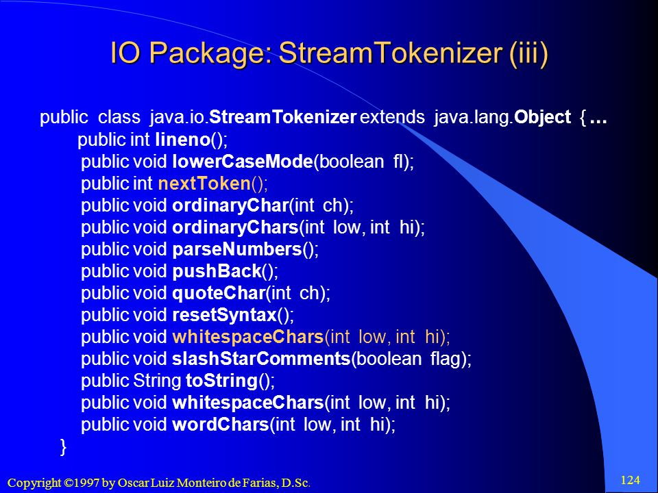 IO Package: StreamTokenizer (iii)