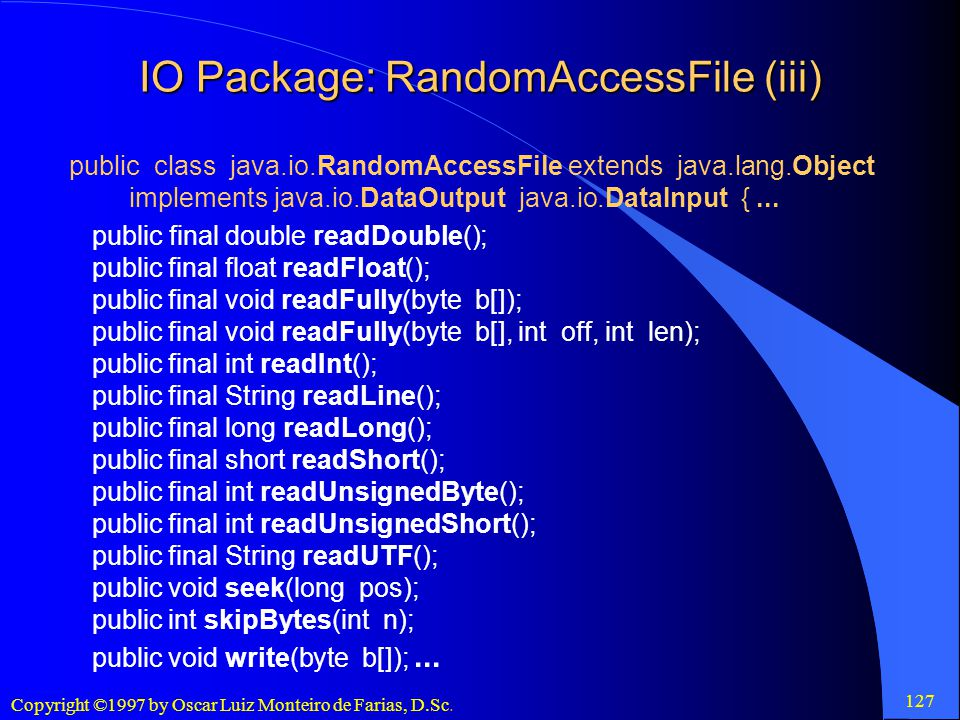 IO Package: RandomAccessFile (iii)