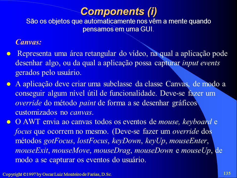 Components (i) São os objetos que automaticamente nos vêm a mente quando pensamos em uma GUI.