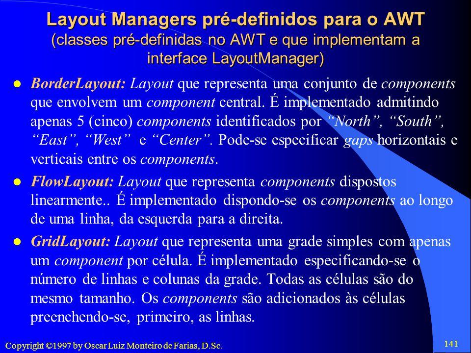 Layout Managers pré-definidos para o AWT (classes pré-definidas no AWT e que implementam a interface LayoutManager)