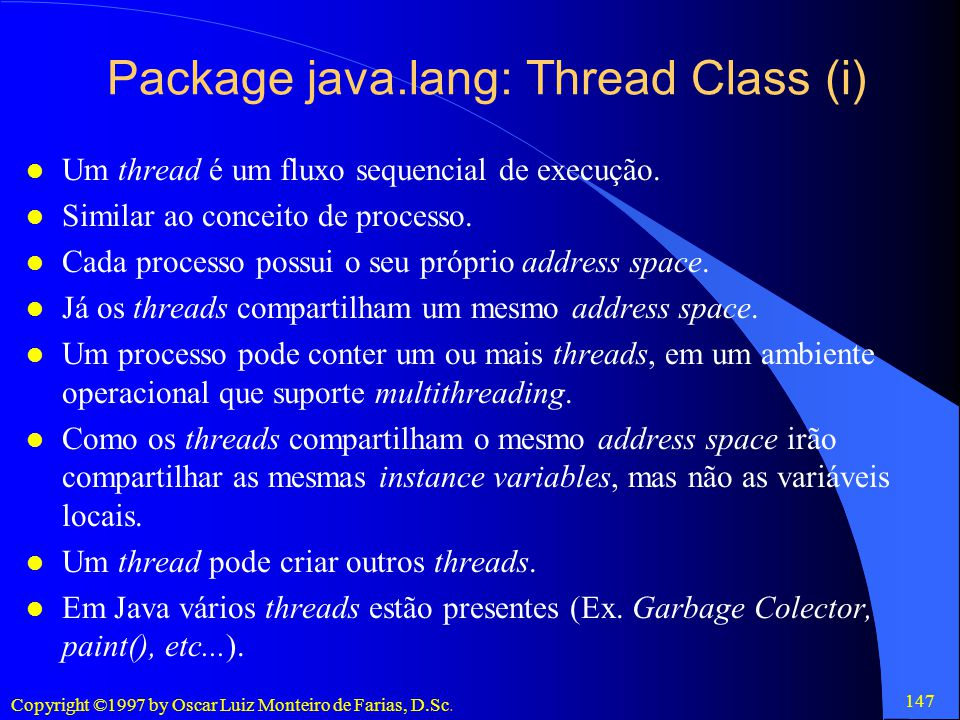 Package java.lang: Thread Class (i)
