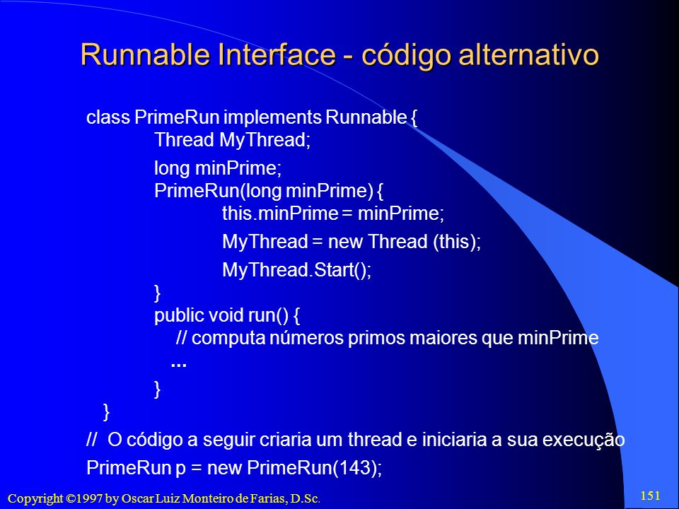 Runnable Interface - código alternativo