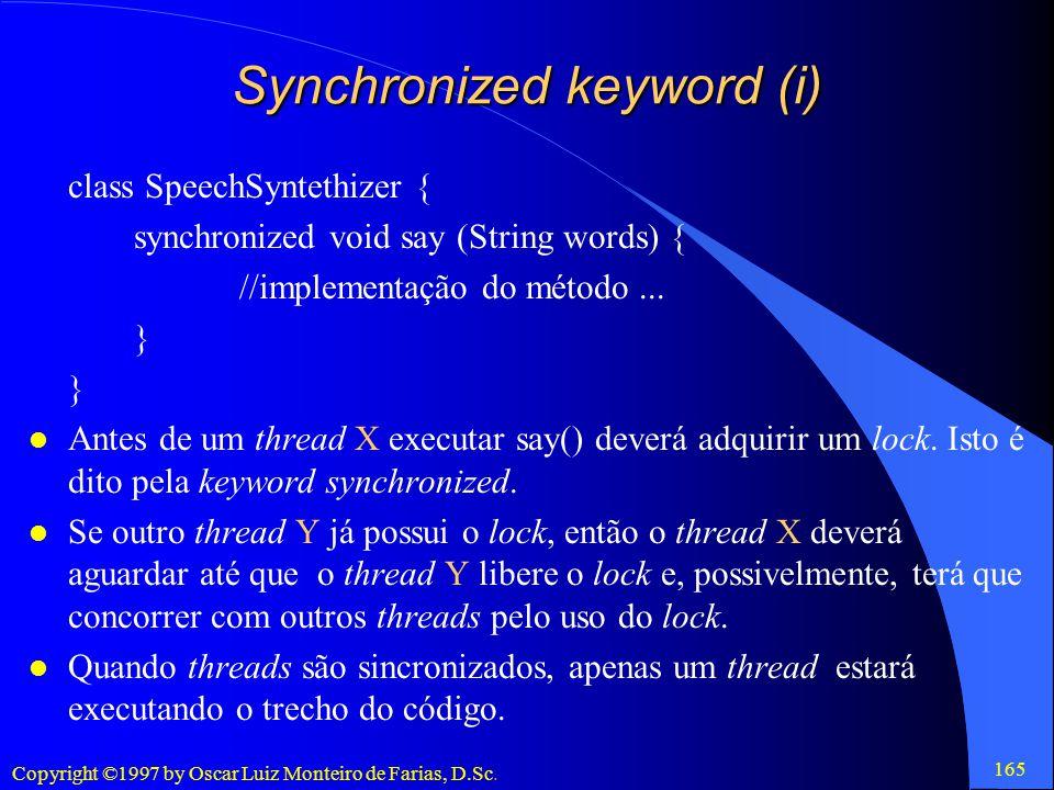 Synchronized keyword (i)