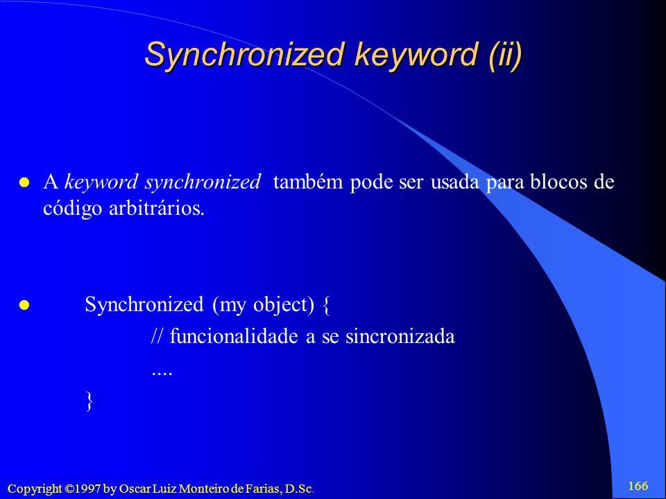 Synchronized keyword (ii)
