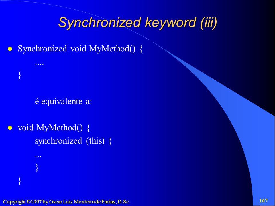 Synchronized keyword (iii)