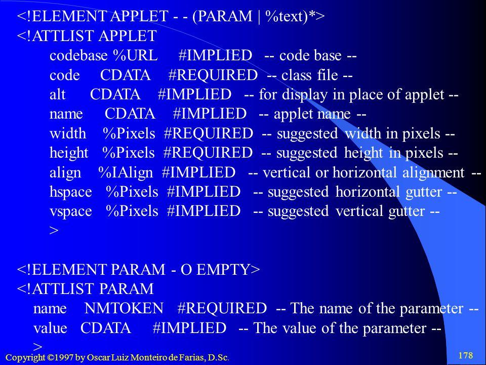 <!ELEMENT APPLET - - (PARAM | %text)*>