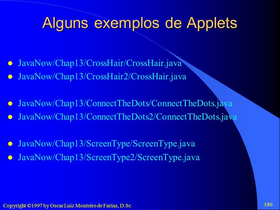 Alguns exemplos de Applets