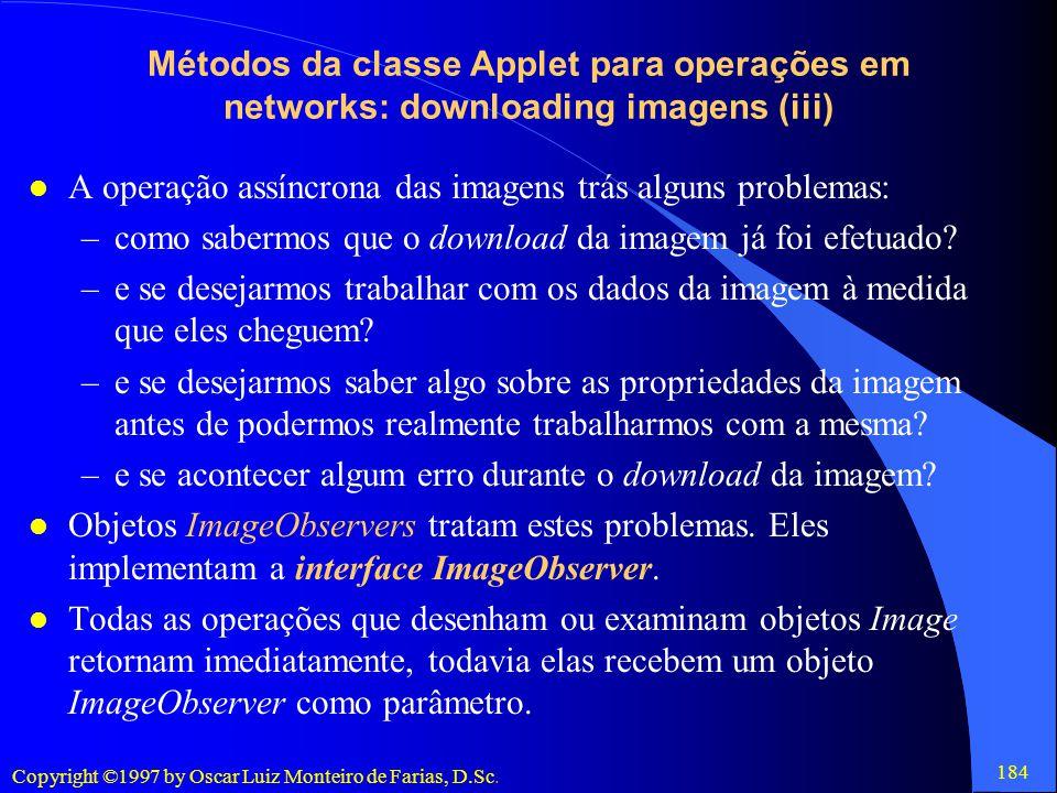 Métodos da classe Applet para operações em networks: downloading imagens (iii)