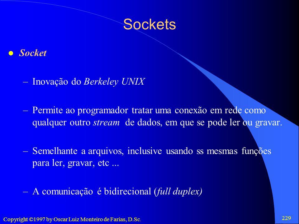 Sockets Socket Inovação do Berkeley UNIX