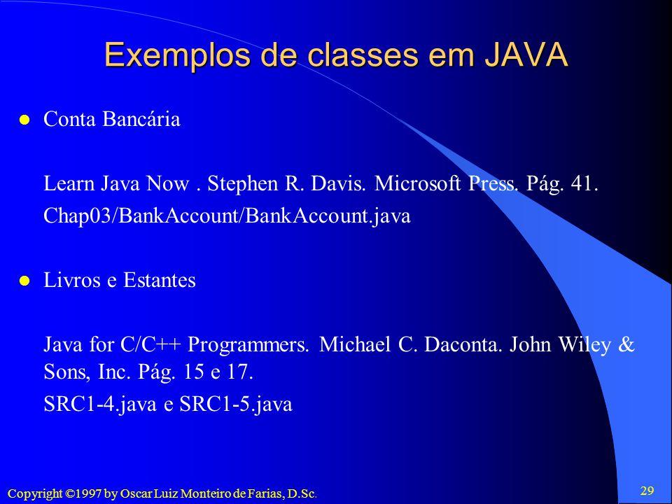 Exemplos de classes em JAVA