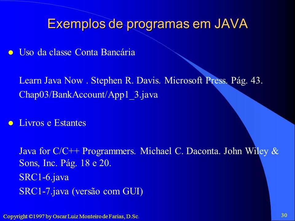 Exemplos de programas em JAVA