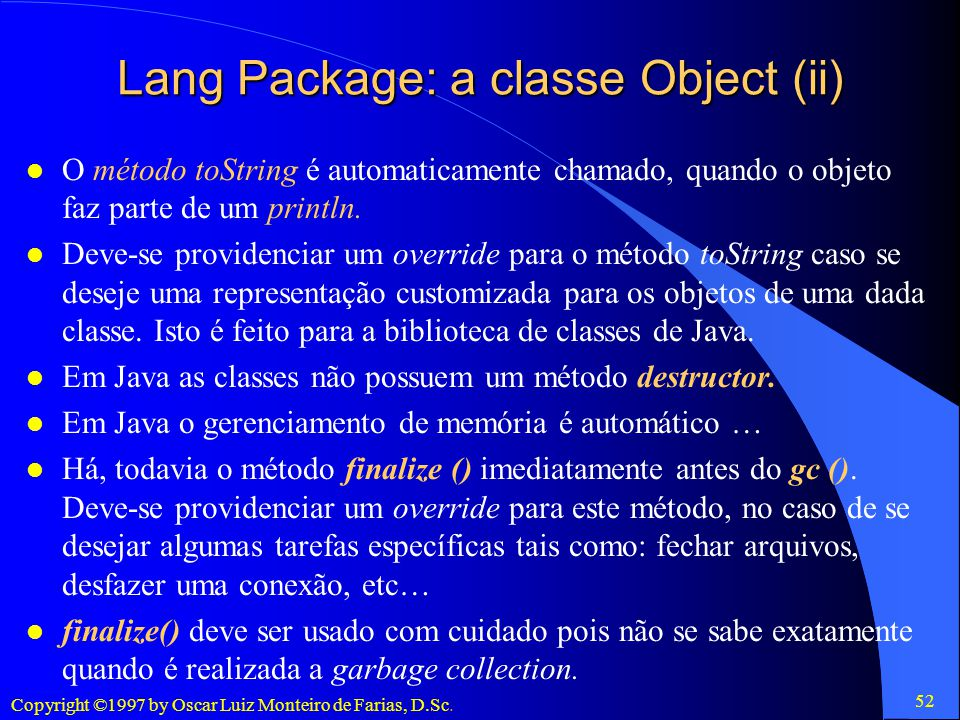 Lang Package: a classe Object (ii)