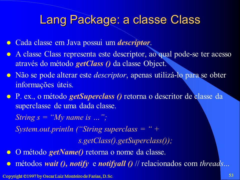 Lang Package: a classe Class