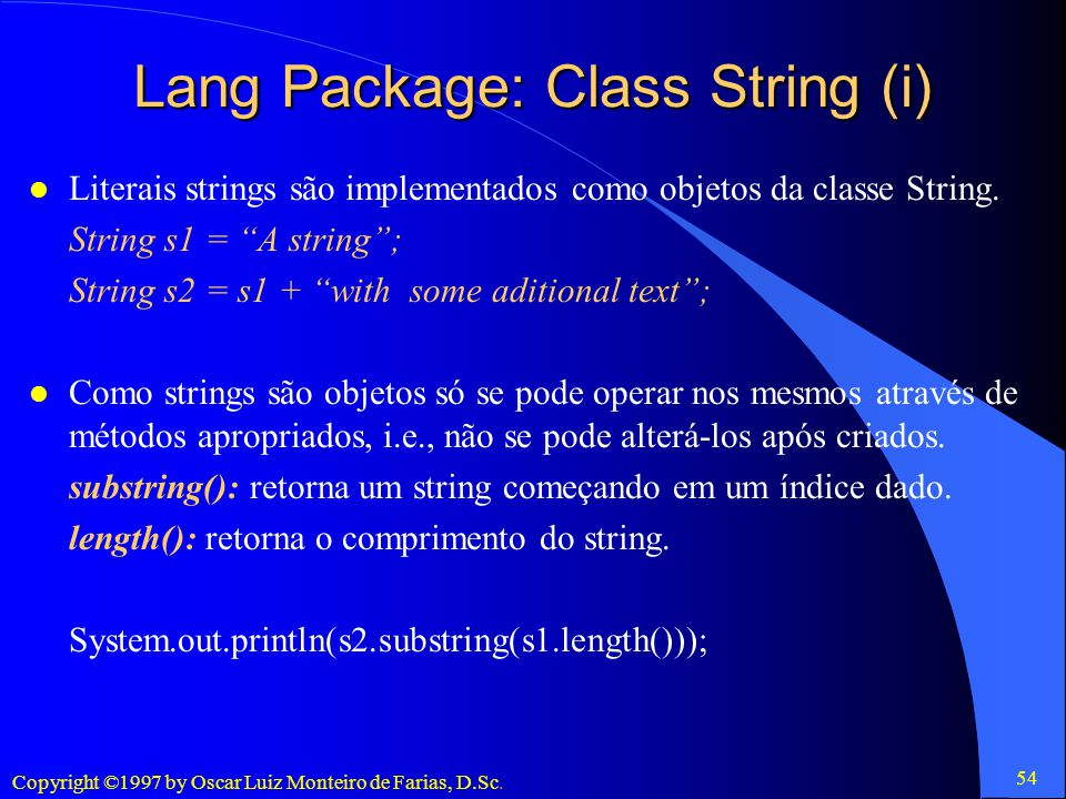 Lang Package: Class String (i)