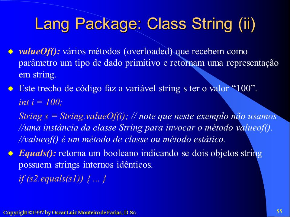 Lang Package: Class String (ii)
