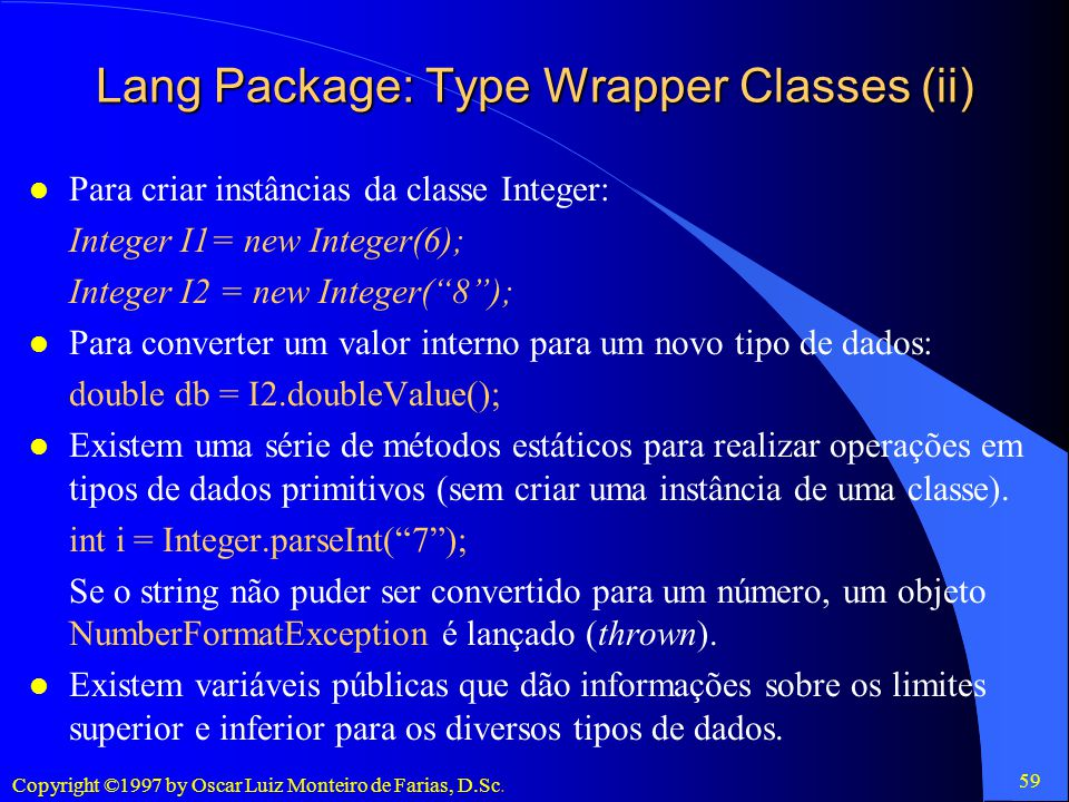 Lang Package: Type Wrapper Classes (ii)