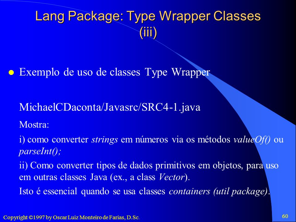 Lang Package: Type Wrapper Classes (iii)
