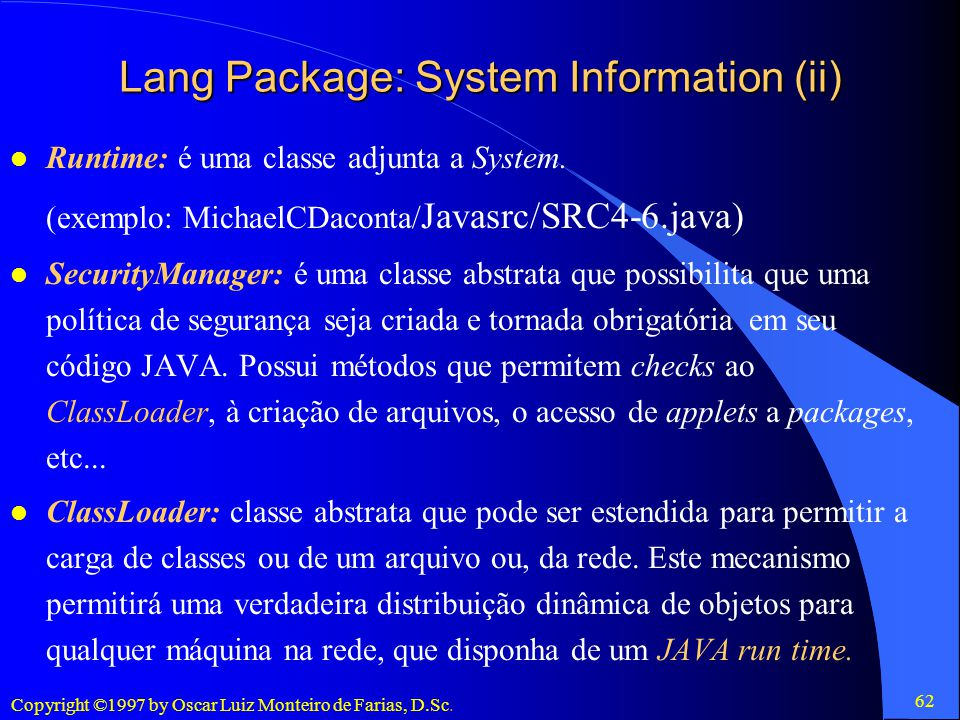 Lang Package: System Information (ii)