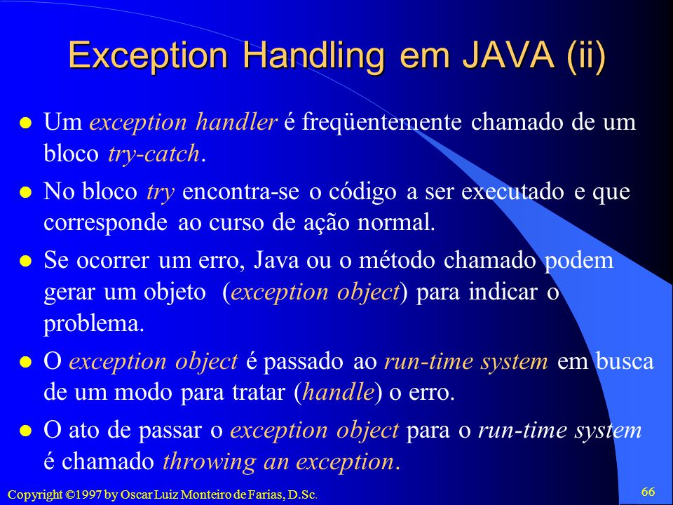 Exception Handling em JAVA (ii)