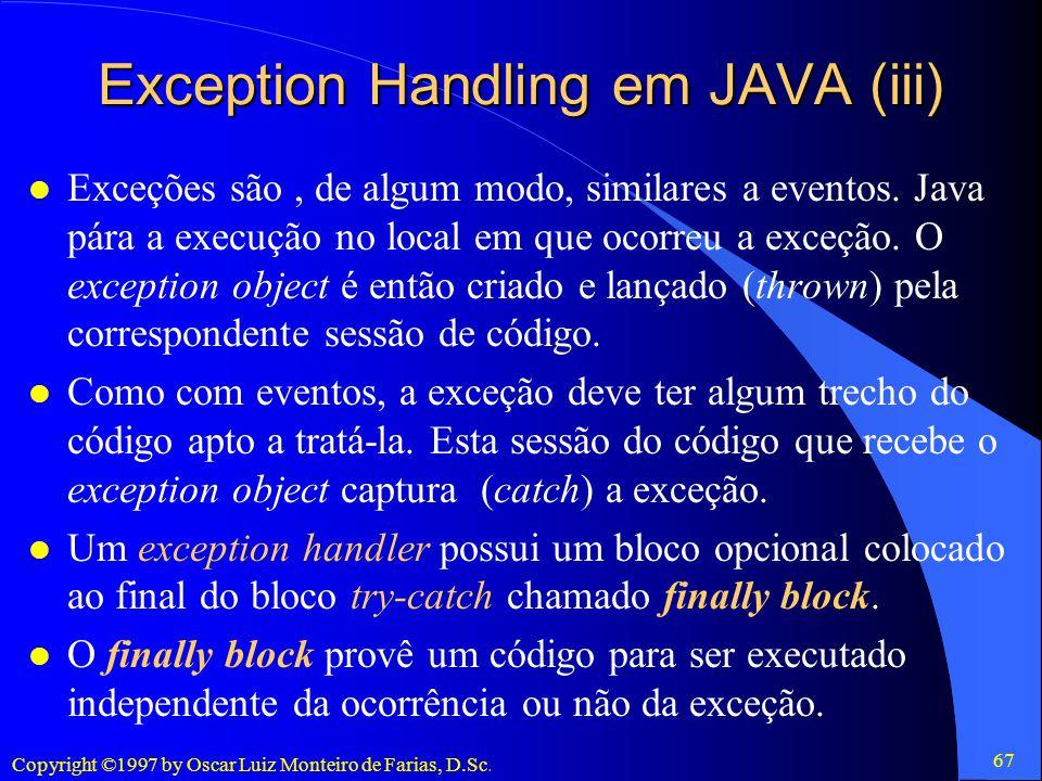 Exception Handling em JAVA (iii)
