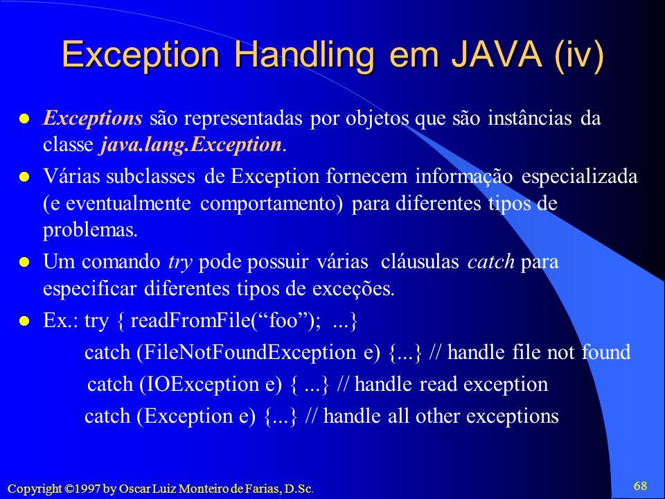 Exception Handling em JAVA (iv)
