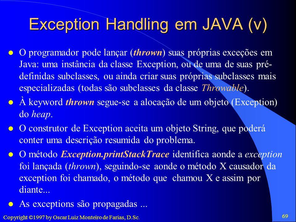 Exception Handling em JAVA (v)