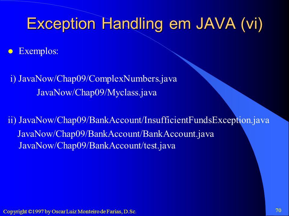 Exception Handling em JAVA (vi)
