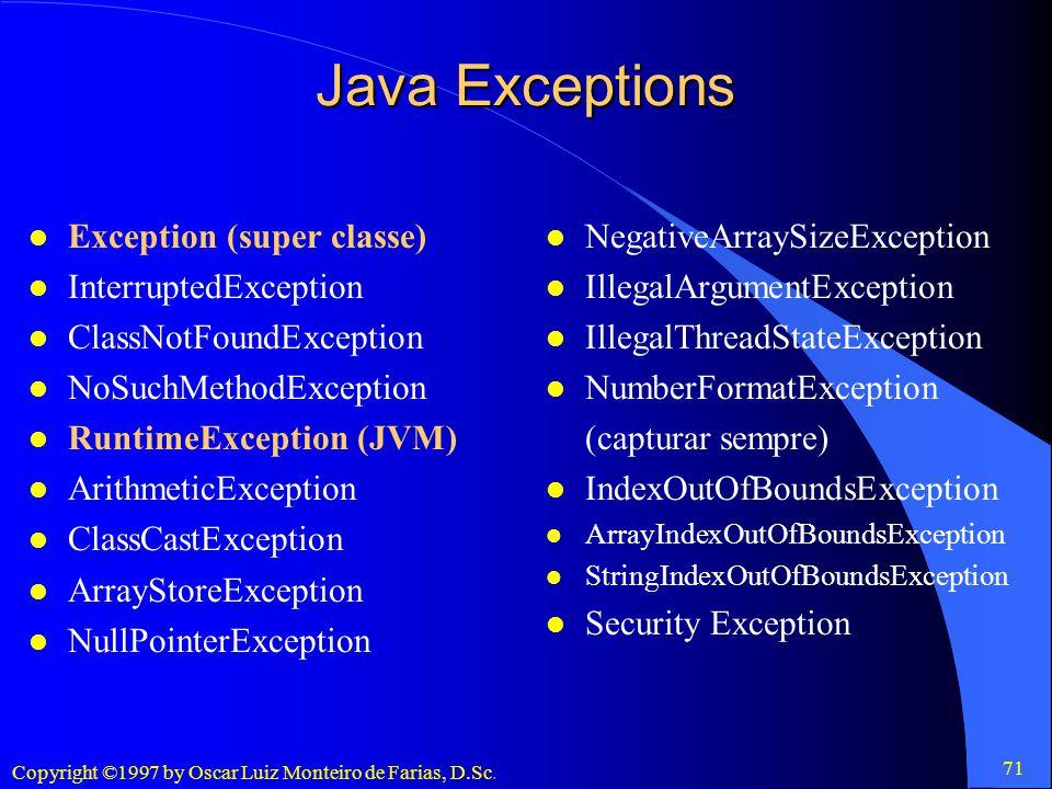 Java Exceptions Exception (super classe) InterruptedException