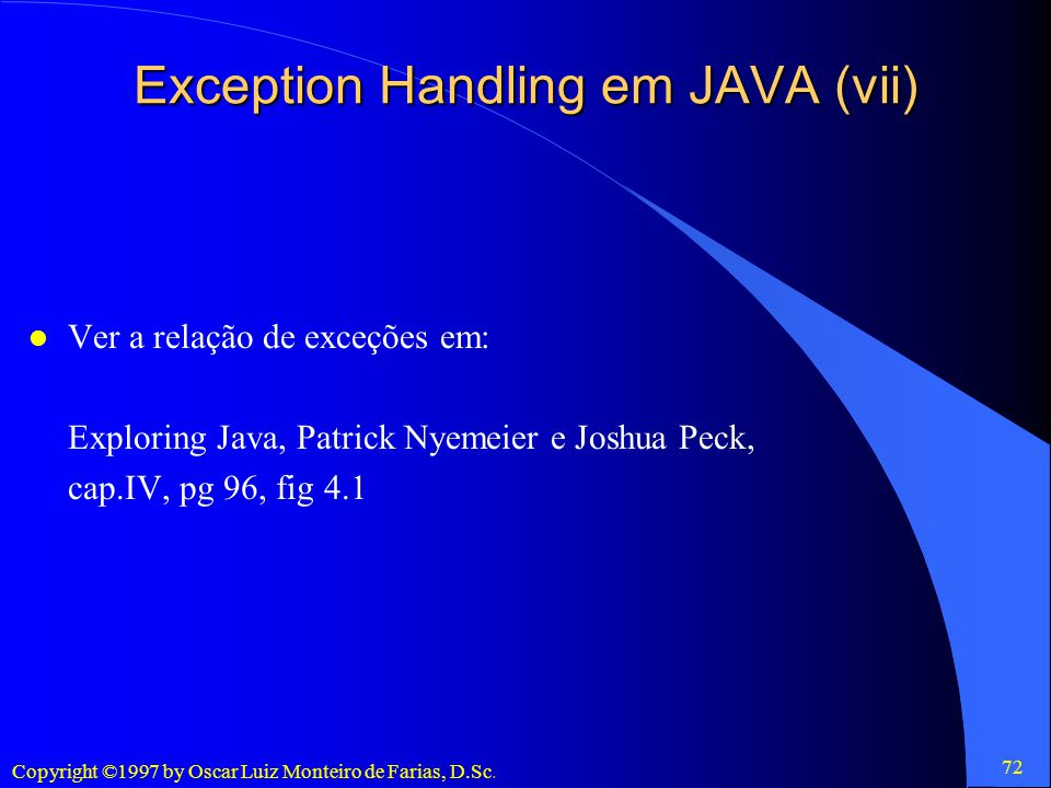 Exception Handling em JAVA (vii)