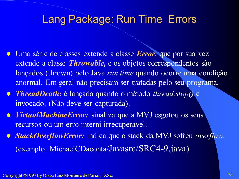 Lang Package: Run Time Errors