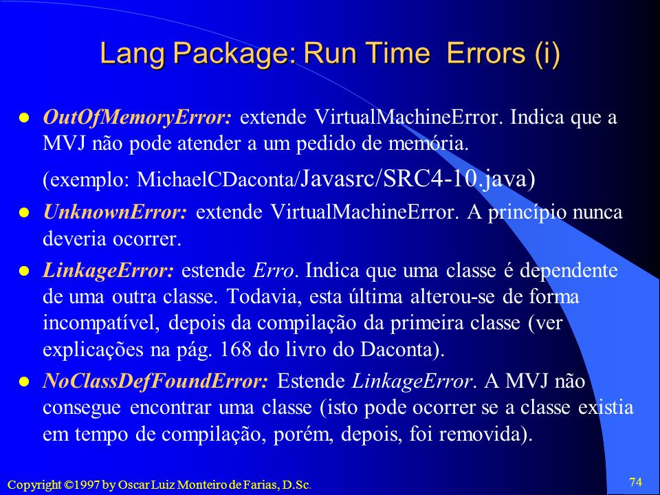 Lang Package: Run Time Errors (i)