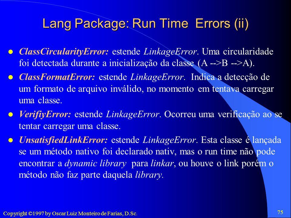 Lang Package: Run Time Errors (ii)