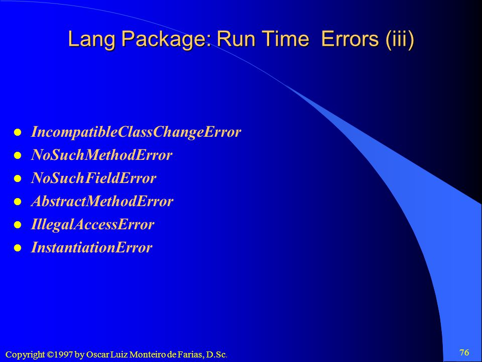 Lang Package: Run Time Errors (iii)
