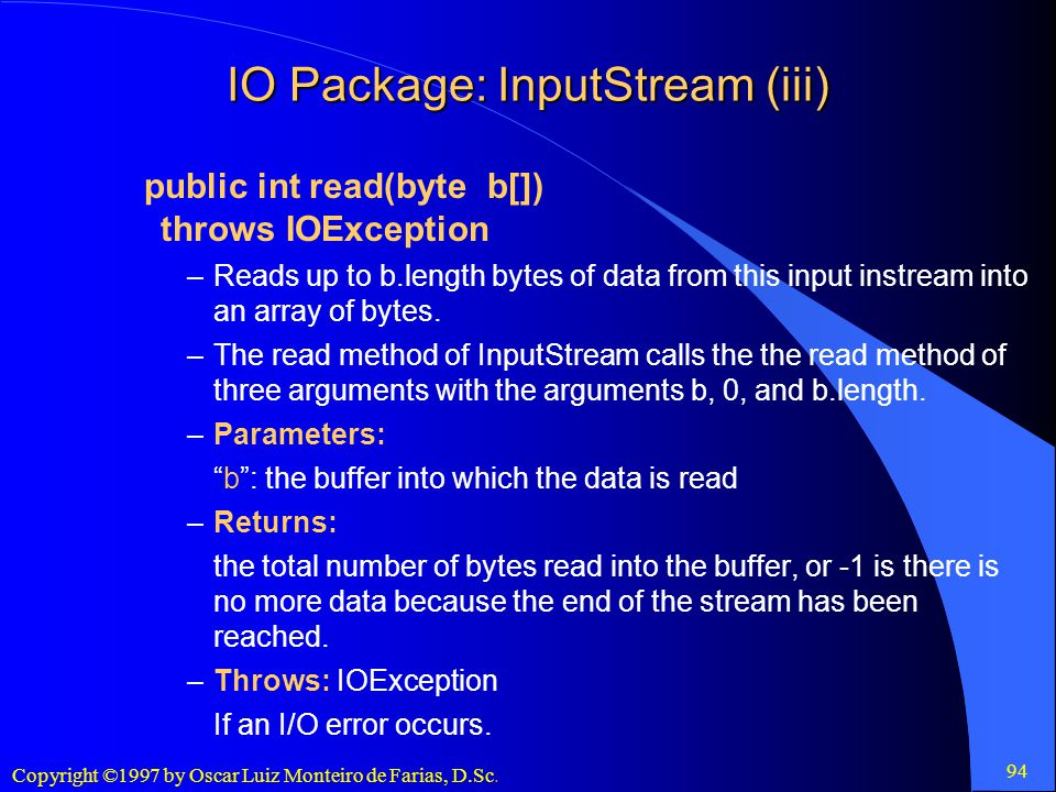 IO Package: InputStream (iii)