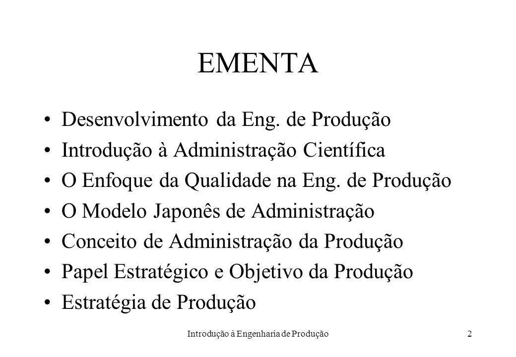 Introdução à Engenharia de Produção