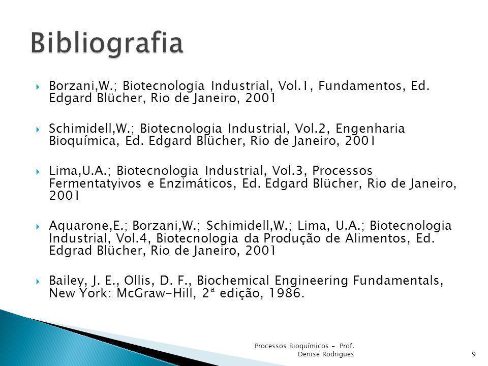 Bibliografia Borzani,W.; Biotecnologia Industrial, Vol.1, Fundamentos, Ed. Edgard Blücher, Rio de Janeiro, 2001.