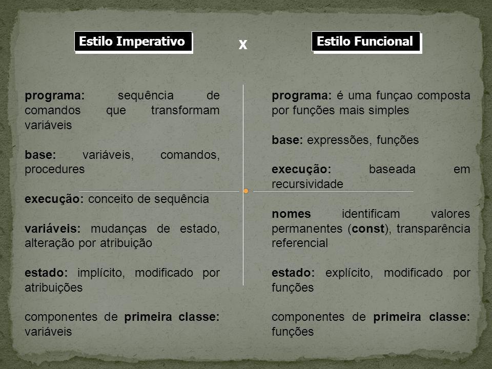Estilo Imperativo Estilo Imperativo. Estilo Funcional. X. Estilo Funcional. programa: sequência de comandos que transformam variáveis.