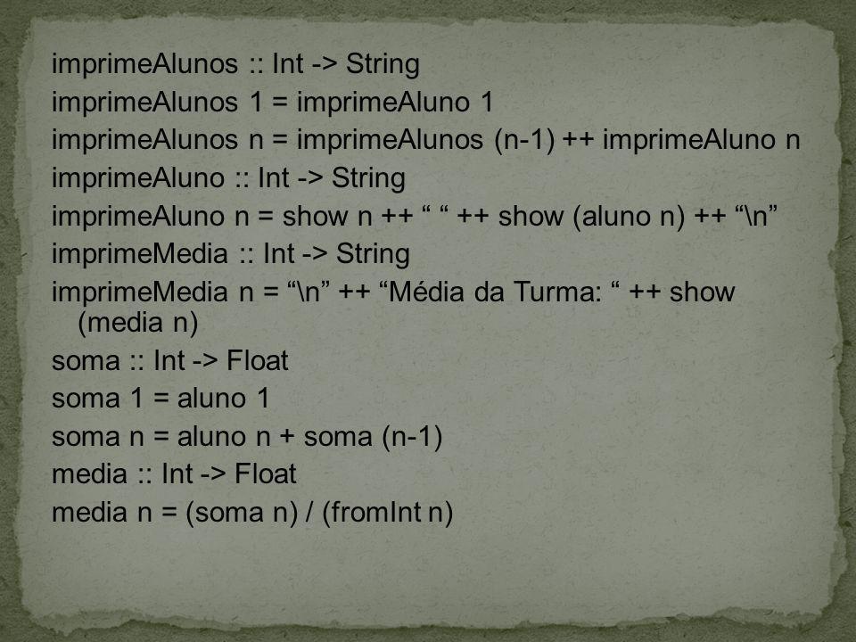 imprimeAlunos :: Int -> String